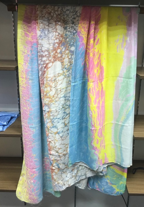 Marbled painted silk scarves made in Vietnam